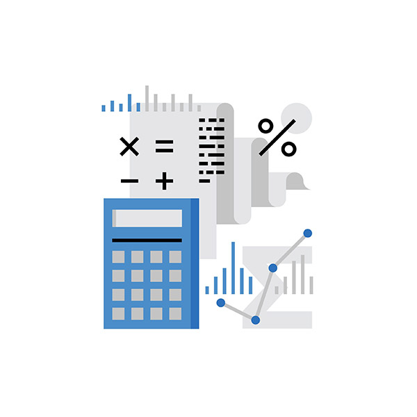 accounting icon with chart and calculator